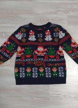 Новогодняя рождественская кофта свитшот от george на 2-3года