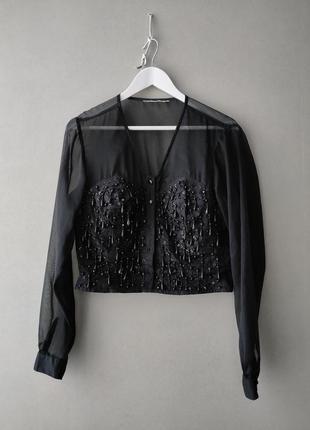 Винтажная шифоновая блузка расшитая бисером