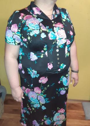 Платье в крупные цветы