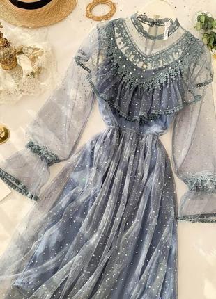 Нарядное фатиновое платье сетка