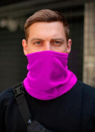 Теплый флисовый бафф с затяжкой фиолетового цвета without