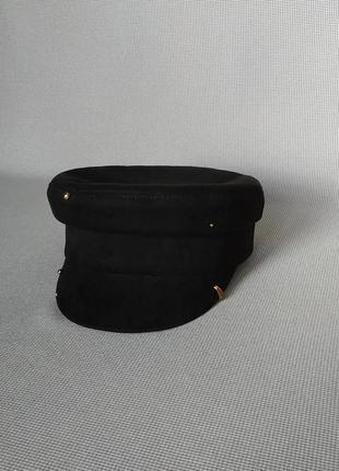 Замшевая кепи кепка картуз модные женские фуражки кепi кашкет шапка чёрная стильная