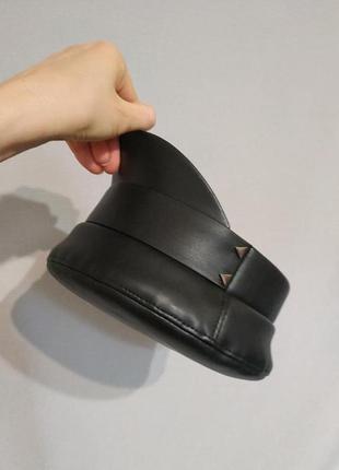 Кожаная кепи модные кепки, фуражки, кепi, картуз, кепи, кепка, фуражка чёрная стильная