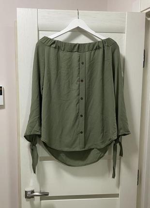 Блуза хаки с опущенными плечиками