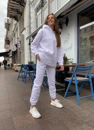 Теплый белый оверсайз костюм на флисе