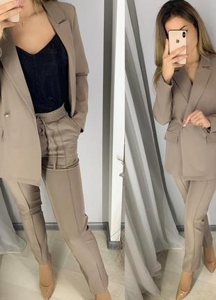 Стильный классический костюм, жакет и брюки, кофейный