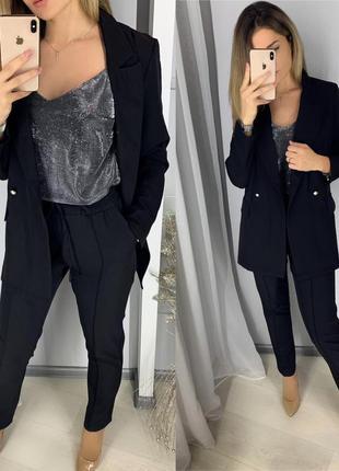 Стильный классический костюм брюки и жакет, чёрный