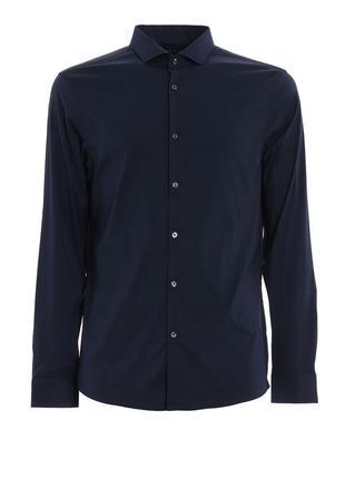 Мужская темно синяя рубашка michael kors slim fit stretch оригинал размер l