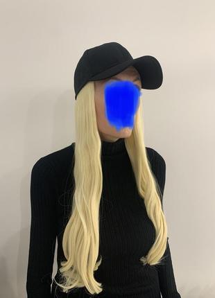 Кепка с волосами чёрная и блонд
