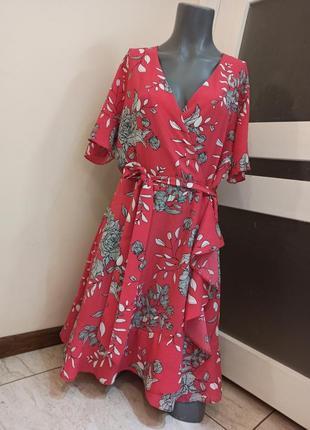 Платье f&f с рюшами uk14-16  цветочный принт состояние новой вещи