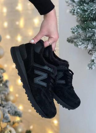 New balance black, кросівки нью баланс чорні зимні жіночі