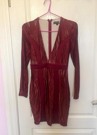 Платье бордовое мини с вырезом, boohoo, 🍒 вишневый цвет, сетка, кружево