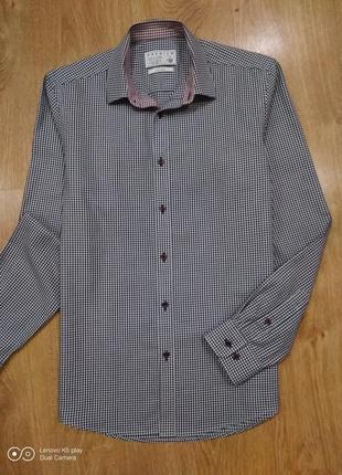 Шикарная  коттоновая мужская рубашка- клеточка-m-l--jack & jones- англия- не ношена