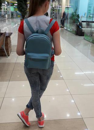 Поделиться:  новый городской женский рюкзак кожа голубой
