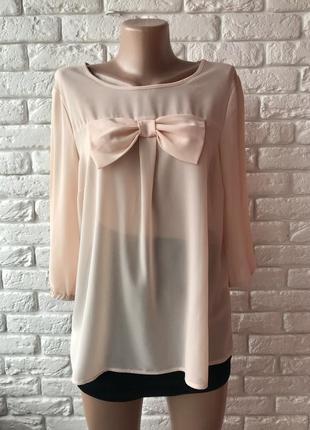 Блузка пудрового цвета с бантом 💝