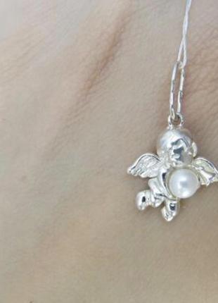 Серебряный кулон ангел