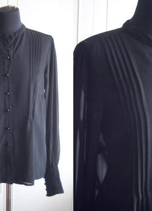 Прозрачная, черная блуза, рубашка, длинный, пышный рукав