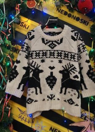 Новогодний рождественский праздничный свитер олени 15 % шерсть 10 % альпака рукав  3/4