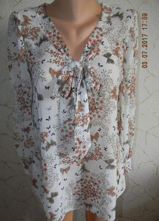 Нежная шифоновая блуза с бабочками