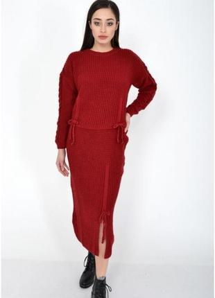 Вязаный костюм,юбка миди,свитер оверсайз, спущенные плечи,бордо, красный м-л
