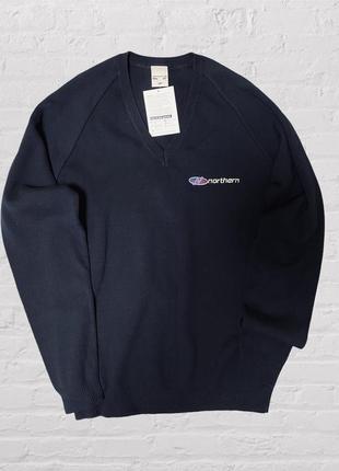 Мужской тёплый свитер джемпер с v вырезом