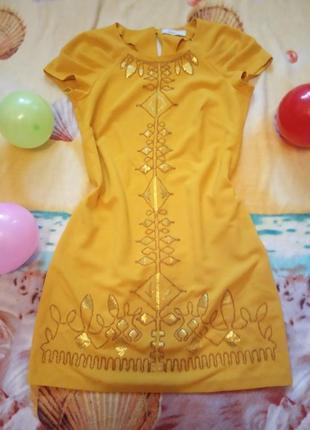 """Платье """"seam""""желтое с паетками и бисером 46-48рр"""