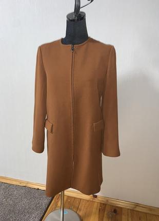 Классное пальто кардиган молния спереди цвет camel 🐫 от zara