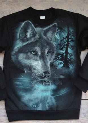 """✅утепленный джемпер со светящимся в темноте рисунком """"волк отражение"""""""