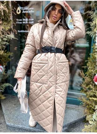 Пальто стёганное с эко-кожи lux качества