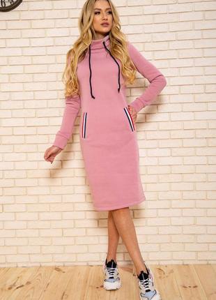 Новое стильное и практичное утепленное женское платье на флисе длина миди с карманами