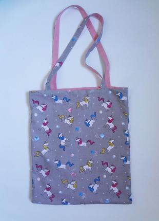 Сумка шоппер, тканевая сумка, эко сумка, единорог