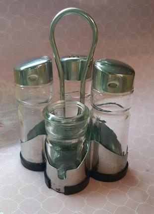 Набор ёмкостей для специй tescoma inox солонка перечница зубочистки 4 в 1