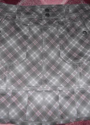 Джинсовая юбка в клеточку
