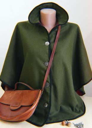 Пончо накидка зеленая пальто шерсть шерстяное винтажное