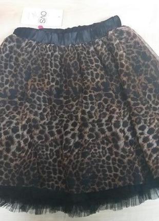 Фатиновая леопардовая юбка