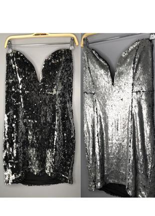 Вечерние откровенное платье блестящие пайетки чешуя серебряная чёрная открытая платье мини