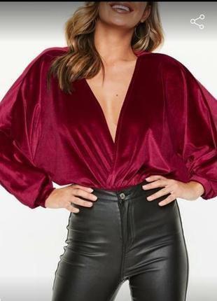 Розкошная женская блузка # боди блузка # бархатное боди # missguided