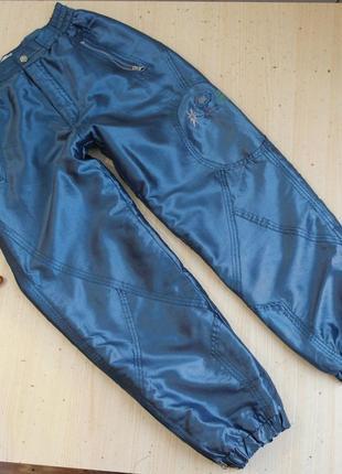 Зимние штаны лыжные утепленные синие с подкладом широкие