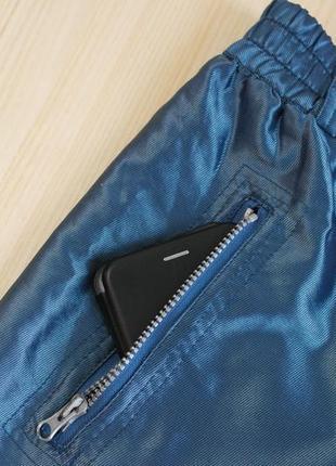 Зимние штаны лыжные утепленные синие с подкладом широкие4 фото
