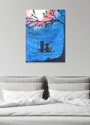 """загадай желание"" картина написана акриловыми красками на холсте двп размером 30*20"