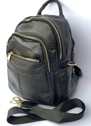 Женский кожаный рюкзак/ городской рюкзак из кожи/ женские кожаные рюкзаки черные