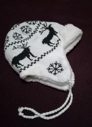Взрослая  белая зимняя меховая шапка с оленями pieces accessories