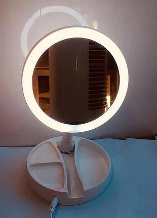 Круглое светящееся зеркало для макияжа с лед подсветкой/10-кратное увеличение.