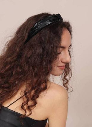 Стильный обруч с узелком из искусственной кожи (есть цвета)