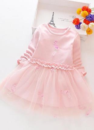 Яскраве плаття з милими фламінго, верх стрейч-трикотаж +  фатін- юбка