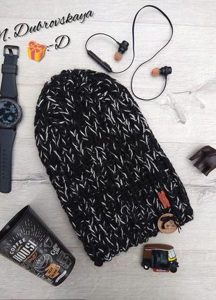 Модная, вязанная, черная шапка высокая, шапка бини, handmade