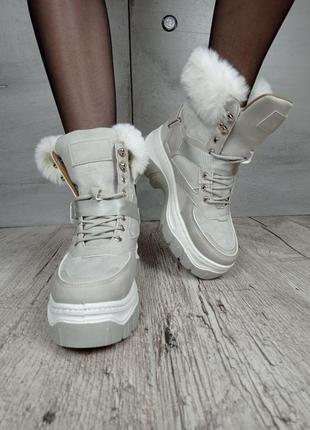 Ботинки зимние, код 1812-4, экозамша5 фото