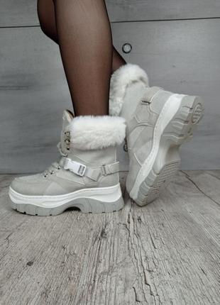 Ботинки зимние, код 1812-4, экозамша4 фото