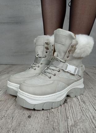 Ботинки зимние, код 1812-4, экозамша3 фото