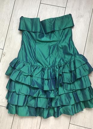 Платье с воланами хамелеон корсет блески новый год коктейльное короткое